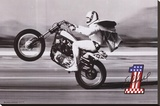 Evel Knievel- Wheelie Stretched Canvas Print