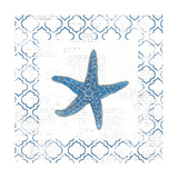 Navy Starfish on Newsprint Prints by Emily Adams