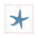 Navy Starfish on Newsprint with Red Art by Emily Adams
