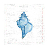 Navy Conch Shell on Newsprint with Red Posters by Emily Adams