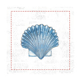 Navy Scallop Shell on Newsprint with Red Posters by Emily Adams