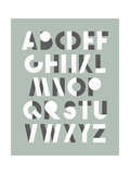 Retro Font in White and Grey. White Alphabet. Realistic Letters Prints by  layritten