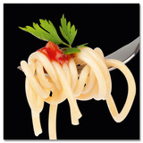 Spaghetti On Fork With Basil Poster
