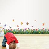 Colourful Butterflies and Grass Muursticker