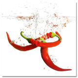 Splashing Chili Pepper Posters