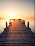 A lakes sunset Impressão em tela esticada