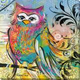 Rainbow Owl Kunstdruk op gespannen doek van Lucy Cloud