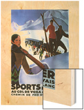Sports d'Hiver 1929 Wood Print by Roger Broders