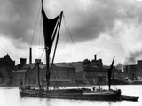 Royal Victoria Docks Docklands London Barge, 1934 Stretched Canvas Print