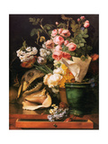 Roses and other Flowers, Shell, Shark Head Skull and Petrifactions, 1819 Metal Print by Antoine Berjon