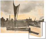 Royal Victoria Docks Docklands London Barge, 1934 Wood Print