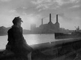 1945-1950, Battersea Power Station Post-War Rebuilding of the Capital - Şasili Gerilmiş Tuvale Reprodüksiyon