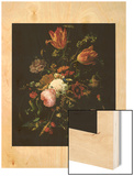 Flowers in a Crystal Vase (Fleurs dans une Carafe de Cristal Avec une Branche) Wood Print by Abraham Mignon