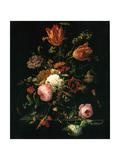 Flowers in a Crystal Vase (Fleurs dans une Carafe de Cristal Avec une Branche) Metal Print by Abraham Mignon