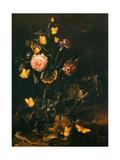 Flowers, Insects, and Reptiles (Fleurs Insectes et Reptiles) Lámina en metal por Otto Marseus Van Schrieck