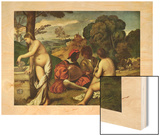 Le Concert Champetre Wood Print by  Giorgione