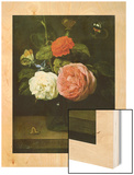 Rose Bouquet with Butterflies and Insects (Bouquet de Roses Avec Papaillons et Insectes) Wood Print by Jacob Fopsen Van Es
