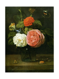 Rose Bouquet with Butterflies and Insects (Bouquet de Roses Avec Papaillons et Insectes) Metal Print by Jacob Fopsen Van Es