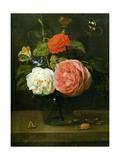 Rose Bouquet with Butterflies and Insects (Bouquet de Roses Avec Papaillons et Insectes) Metal Print by Jacob Fopsen Van Es