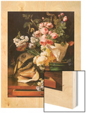 Roses and other Flowers, Shell, Shark Head Skull and Petrifactions, 1819 Wood Print by Antoine Berjon
