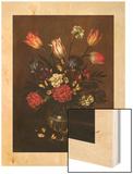 Vase of Flowers, 1650 Wood Print by Antonio Ponce