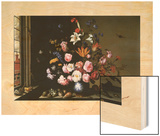 Vase of Flowers by a Side Window Wood Print by Balthasar van der Ast
