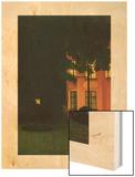 The Pink House, 1892 (La Maison Rose) Wood Print by William Degouve de Nuncques