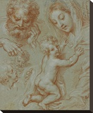 Studies of the Madonna and Child and of Heads (recto); Madonna and Child with Saint John Seated in Stretched Canvas Print by Michel Corneille