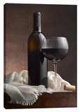 Red Wine & Cork Stretched Canvas Print by Barry Seidman