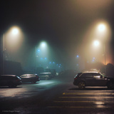 Cars in Car Park with Fog at Night Photographic Print by Tim Kahane