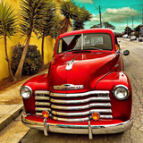 Shining Red Paintwork on Edited Scene of Classic Car in America Photographic Print by Salvatore Elia