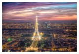 The sparkling lights of the Eiffel Tower Print by Nick Jackson