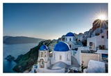 Beautiful blue domes of Santorini, Greece Posters by Nick Jackson