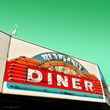 Diner Neon Retro Sign in America Photographic Print by Salvatore Elia