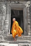 Buddhist Monk on Steps Photographic Print by Steven Boone