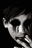 Young Man with Blackened Eyes Smoking Photographic Print by Torsten Richter