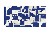 Collaged Letters Blue A Prints by JB Hall