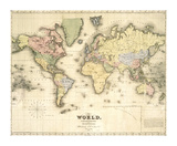 The World, on Mercator's Projection Premium Giclee Print by David H. Burr
