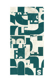 Collaged Letters Dark Green F Poster by JB Hall