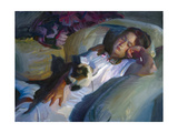 Young Girl with Cat Premium Giclee Print by John Asaro