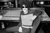 Phil Lynott of Thin Lizzy During a Recording Session for the Groups New Album. Fotografisk tryk af Andy Hosie