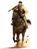 Uncharted 3: Drake's Deception - Key Art of Drake on Horseback Prints