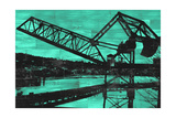 Ballard Train Trestle - Green and Black Prints by  Paperplate Inc.
