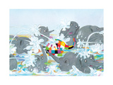 Elmer Waterfight Giclee Print by David Mckee
