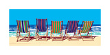 Five Deckchairs Giclee Print by Jonathan Sanders