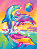 Brushstoke Dolphins Posters by Lisa Frank