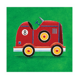 Red Racing Car - Number 8 Giclee Print by Simon Hart