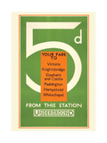 5d Your Fare to: Victoria Giclee Print by  Transport for London