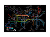 Black London Underground Map Giclee Print by  Transport for London