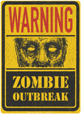 Warning Zombie Outbreak Tin Sign
